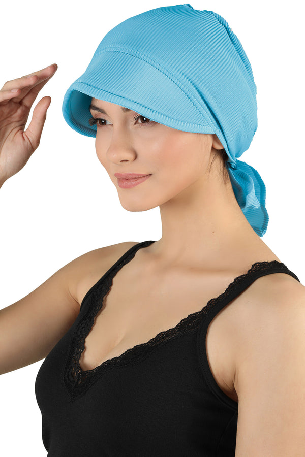 Tie Back Casual Pretty Hat - Cyan