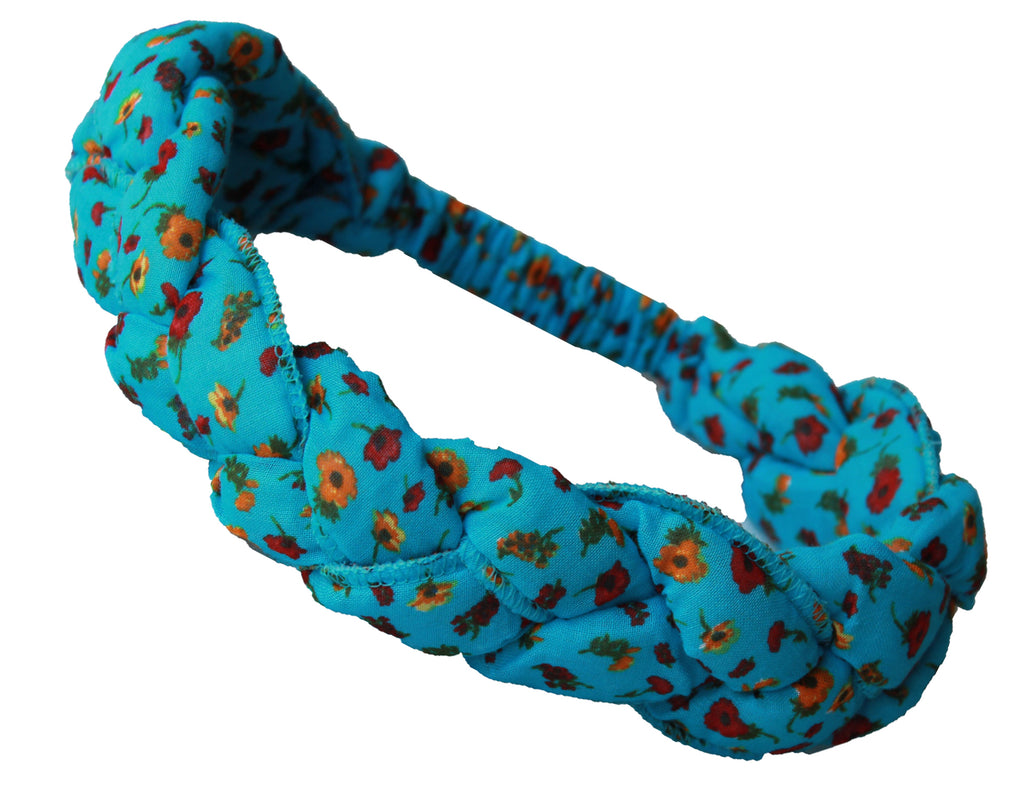 Girls Headband - Cyan with flower