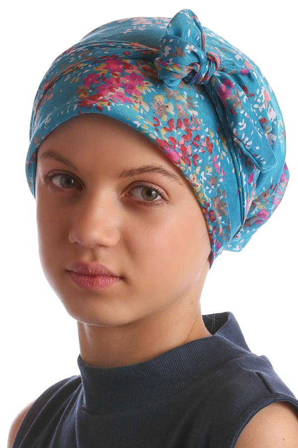 Easy Tie Head Scarf for Girls - Cyan ElderFlower