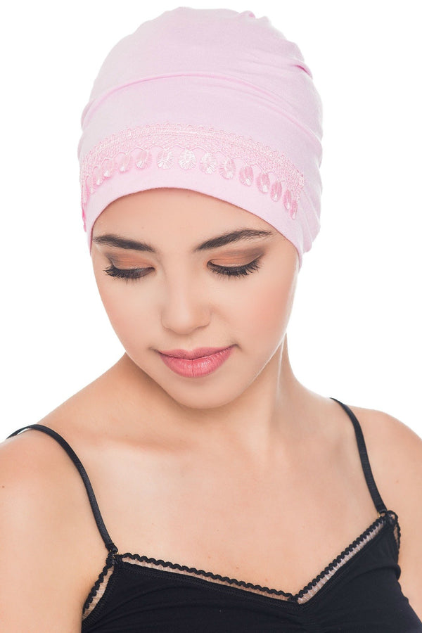 Deresina Lace detail sleep cap for hair loss daisy pink