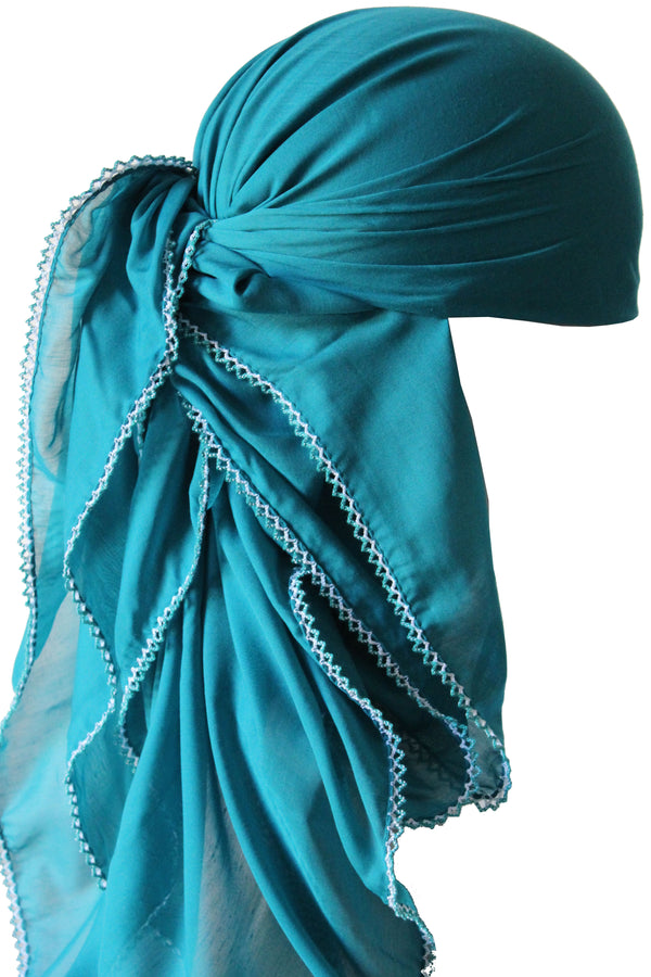 Crochet Edges Soft Head Scarf - Dark Cyan