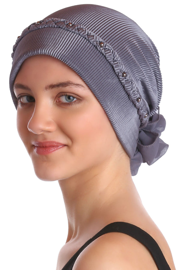 Deresina Braided beaded hat for hairloss for hairloss grey