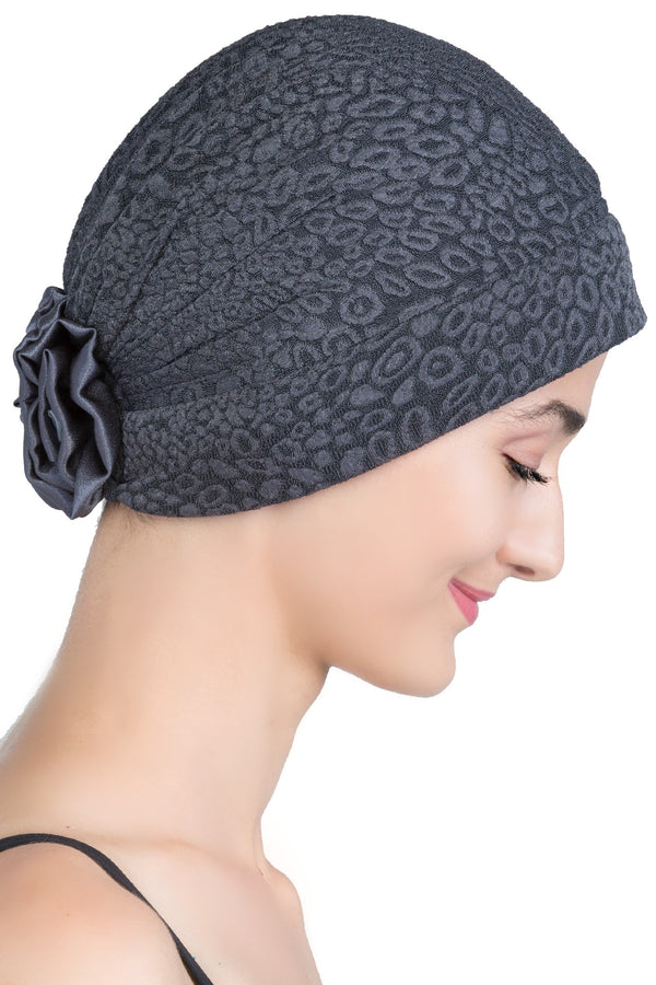 Deresina Brocade chemo headwear with satin rose charcoal
