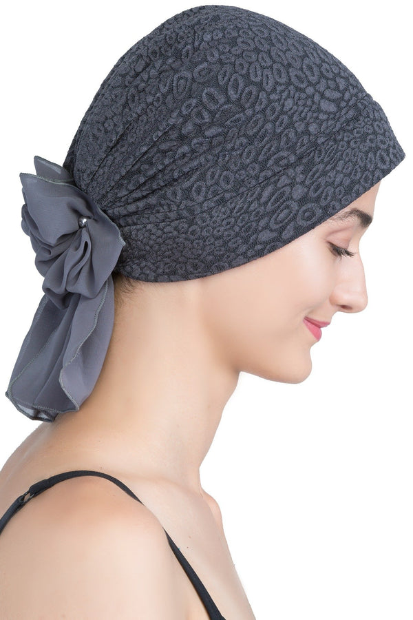 deresina brocade headwear georgette chemo hats charcoal