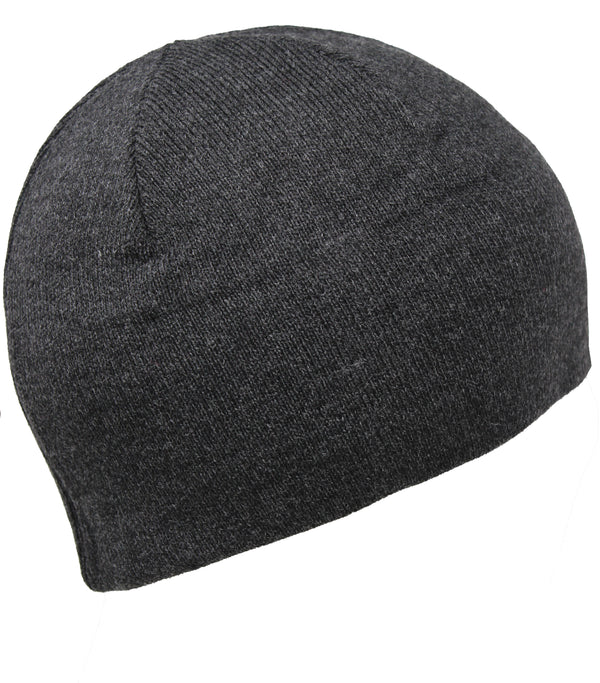 Men Knit Hat - Dark Grey Half Fleeced Beanie