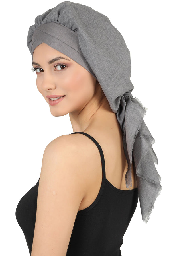 W Front Cap with Attached Scarf (Dark Grey Plain)