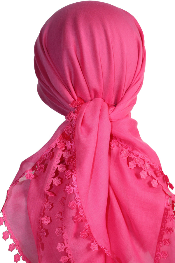 Flower Edges Soft Square Head Scarf  - Deep Pink