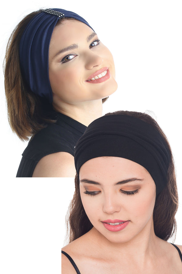 Plain & Jewelled Headband Set of Two - Denim/Black