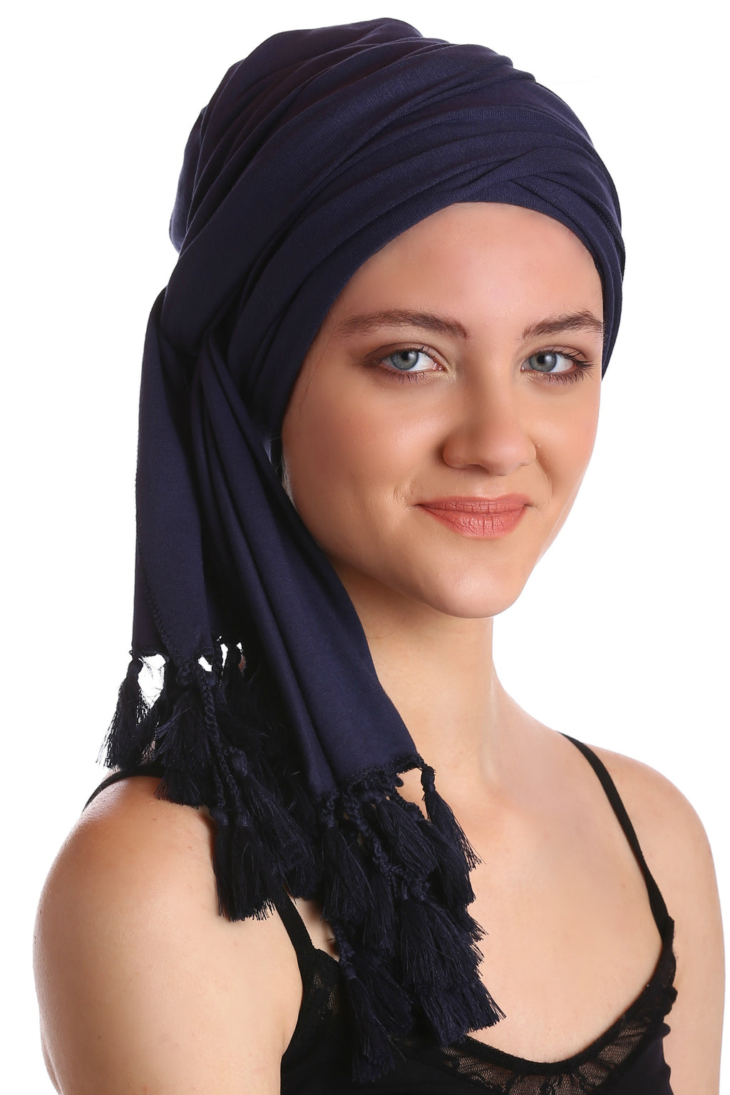 Cotton Headwrap -Denim with Tassel