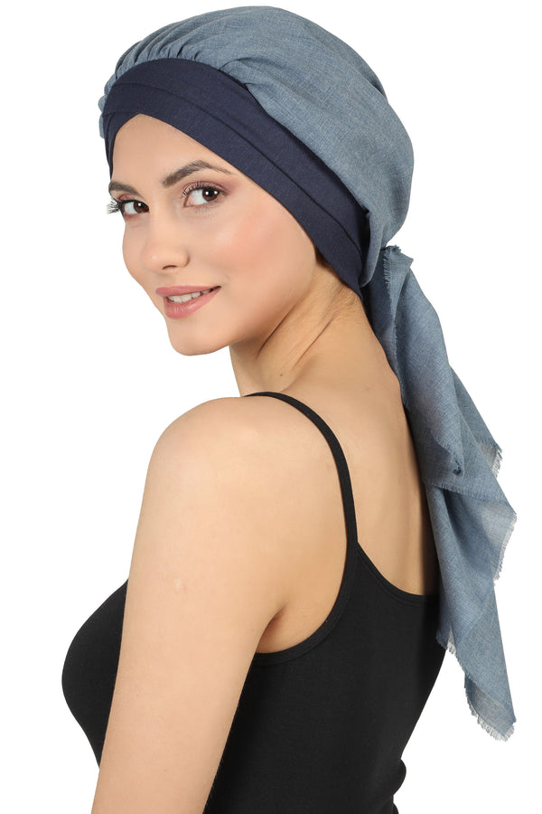 W Front Cap with Attached Scarf (Denim/Carolina Plain)