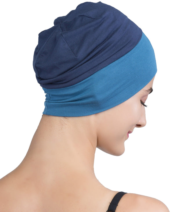 Wrap-fit Sleep Cap - Denim Caroline