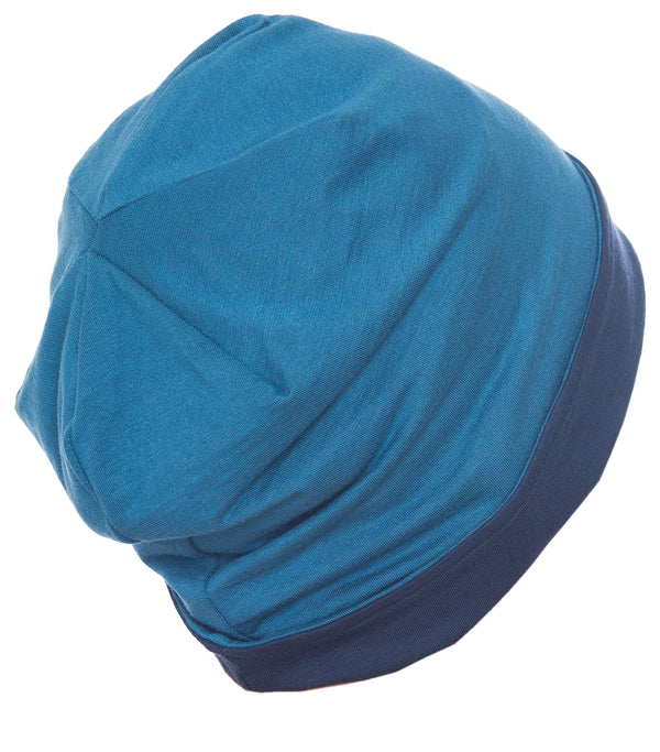 Reversible Beanie for Men- Denim/Caroline Blue