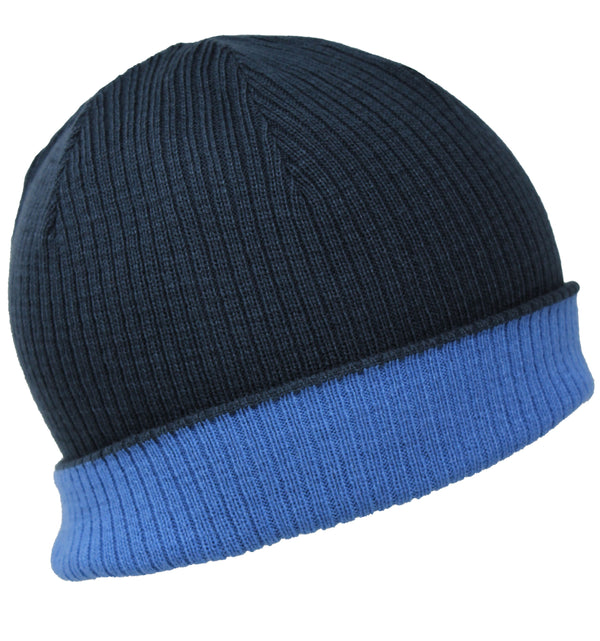 Men Knit Hat - Denim Indigo Blue Reversible Beanie