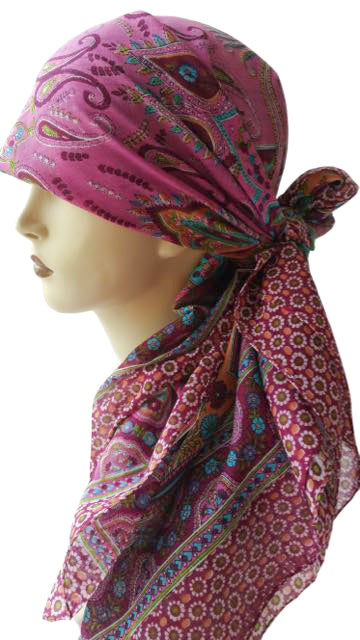 Large Cotton Square Head Scarf - Dusty Pink