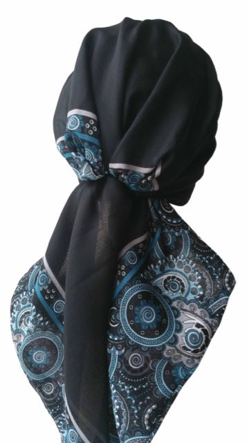 Easy Tie Head scarf  (Black Indigo End)