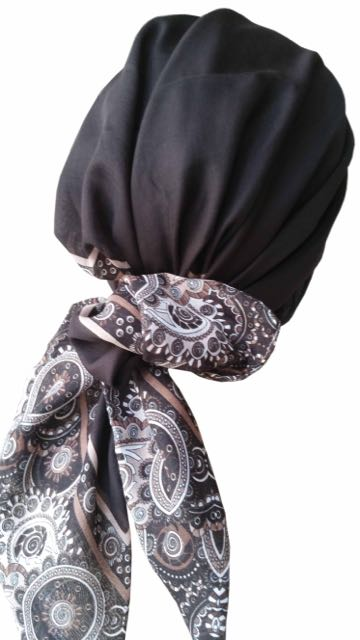 Easy Tie Head scarf  (Brown Beige End)
