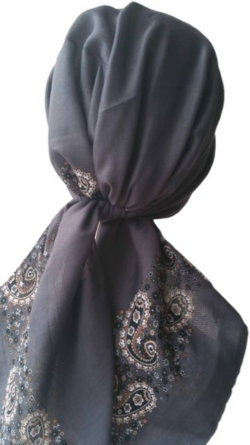 Easy Tie Head scarf  (Grey Beige End)