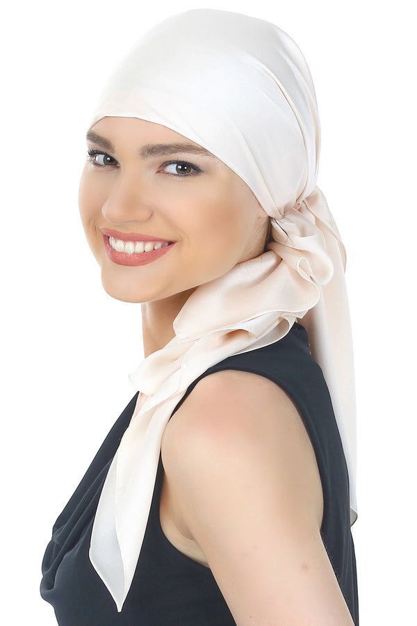 Crepe Satin Luxurious Headscarf-Floral Cream