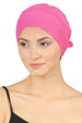 Double Layer Tie Back Cotton Cap - Fuchsia