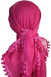 Flower Edges Soft Square Head Scarf - Fuchsia