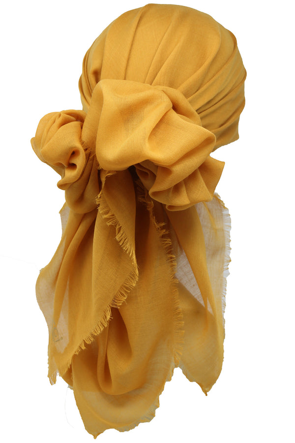 Ultra Soft Head Scarf - Mustard with Edges