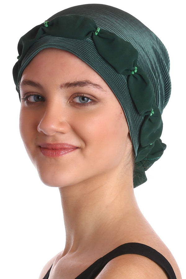 Deresina Shirred  beaded chemo headwear green green
