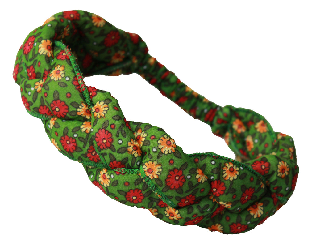 Girls Headband - Green with flower