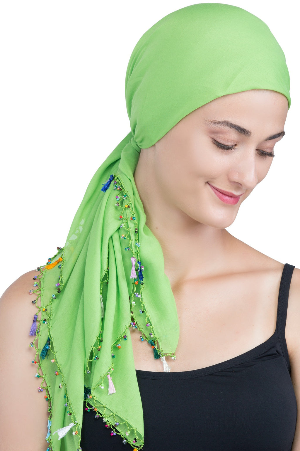 Beaded Square Head Scarf - Green with Tassels