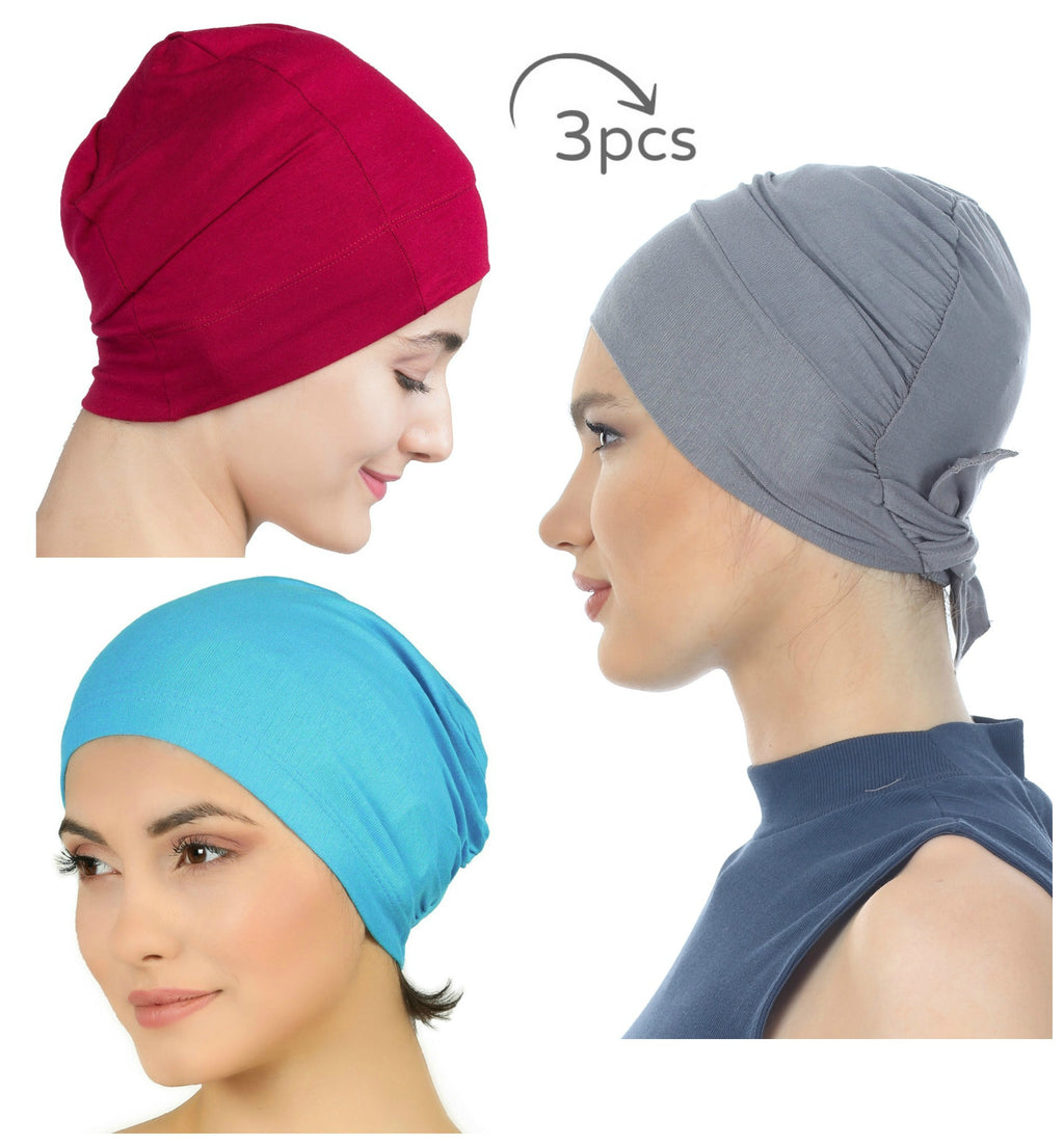 Essential Cotton Cap 3 Pieces  (Grey-Burgundy-Tiffany)