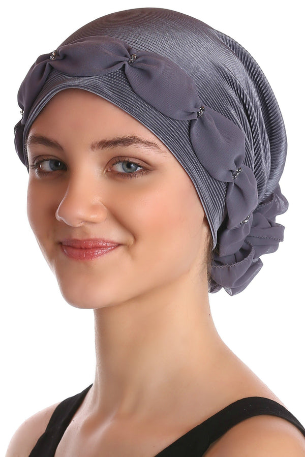 Deresina Shirred  beaded chemo headwear grey grey