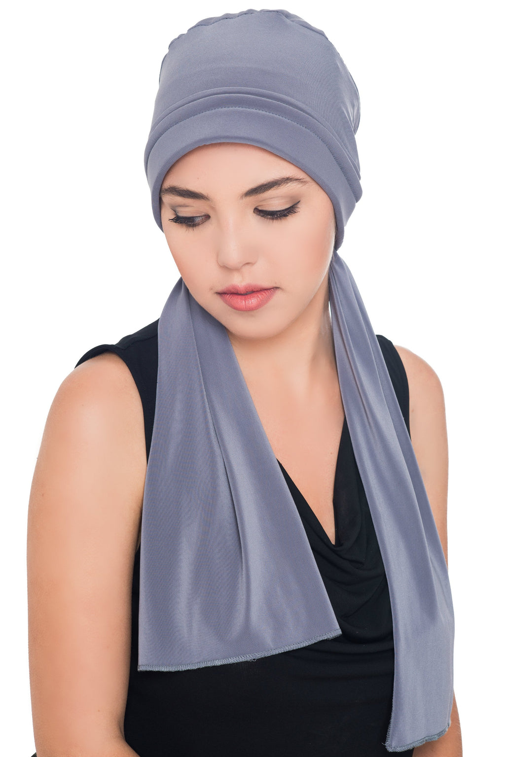 Versatile Headwear with Long Tails - Grey