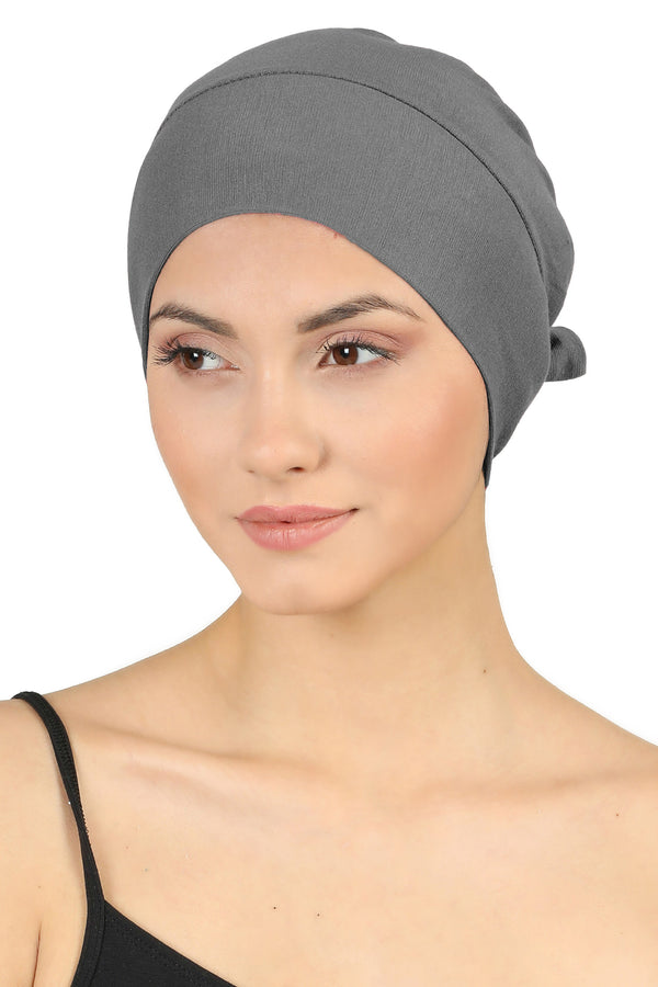 Double Layer Tie Back Cotton Cap - Grey