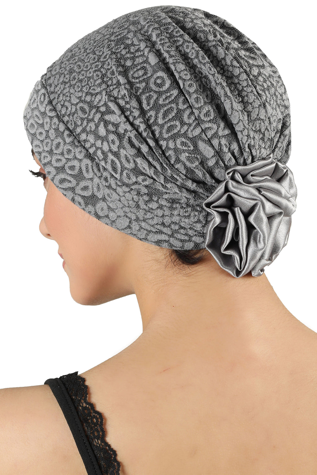 Brocade Headwear with Satin Rose - Padded Front Grey