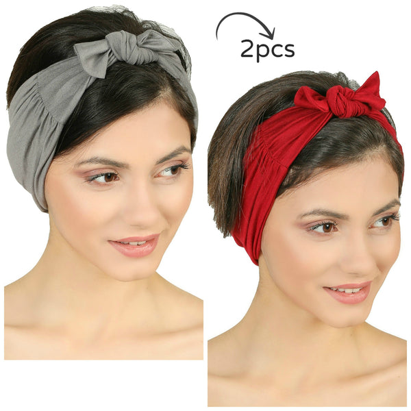 Bow Tie Headband-Grey/Burgundy