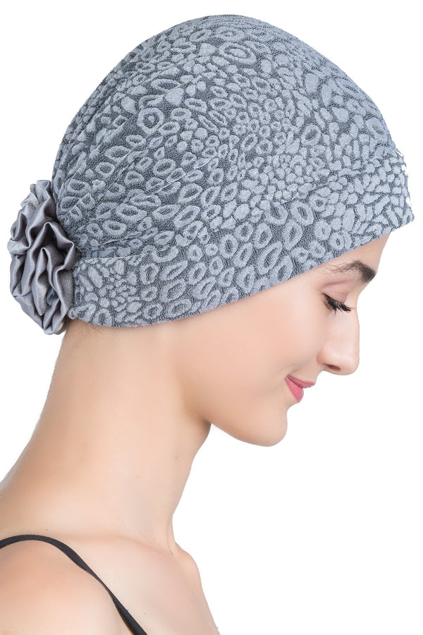 Deresina Brocade chemo headwear with satin rose grey