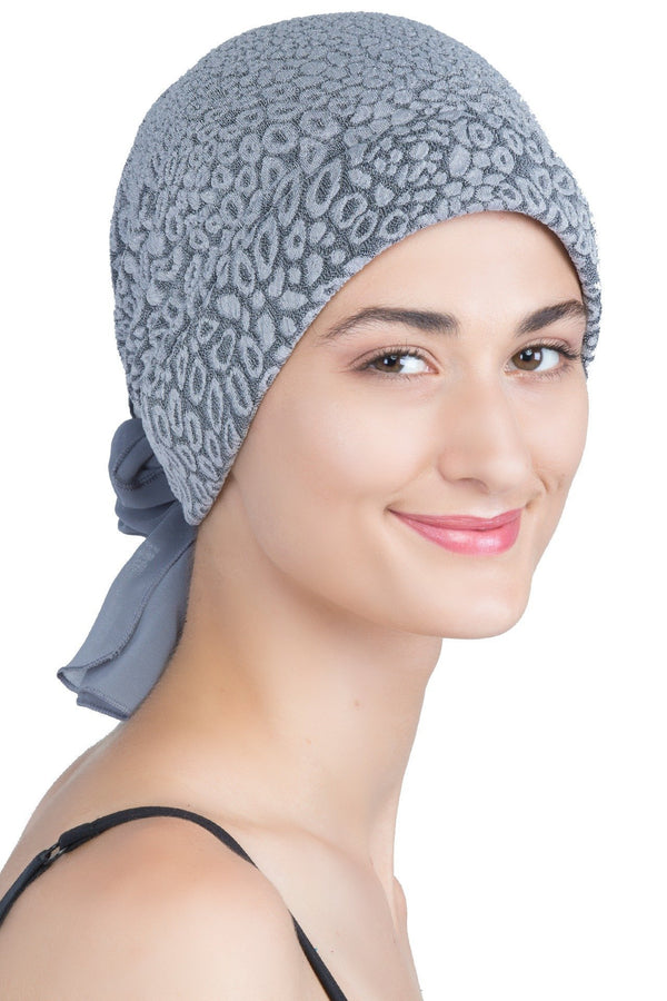 deresina brocade headwear georgette chemo hats grey