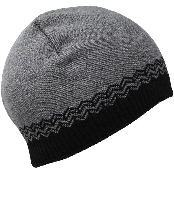 Men Knit Hat - Grey Black Full Fleeced Beanie