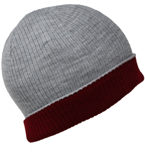 Men Knit Hat - Grey Maroon Reversible Beanie