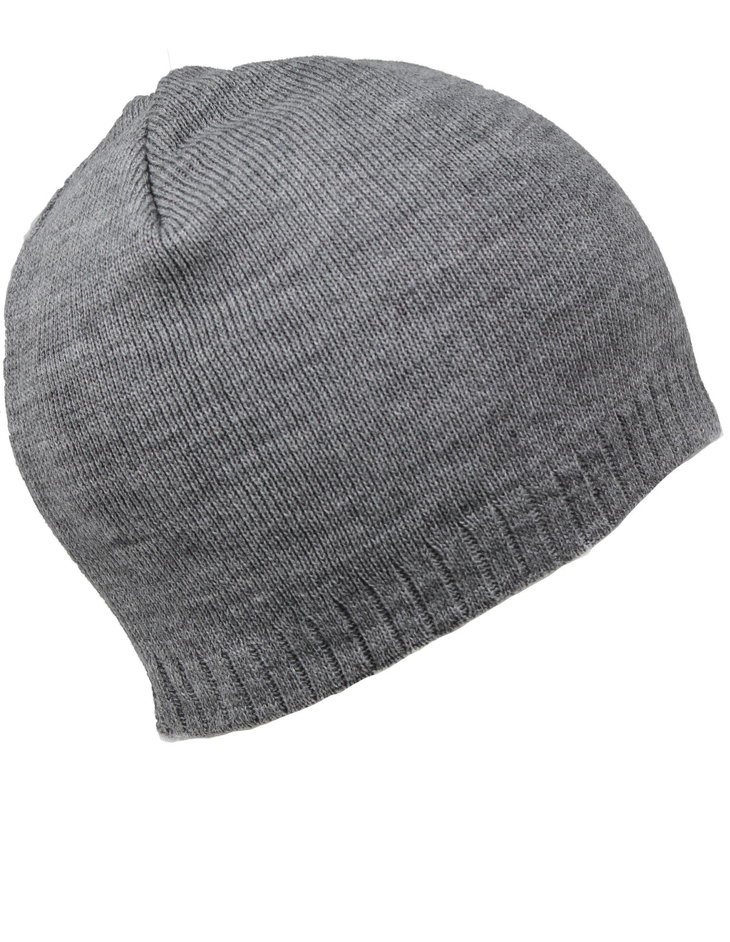 Men Knit Hat - Grey Two-Layered Chunky Hat