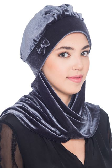 Velour Hat with Attached Scarf & Bow - Grey