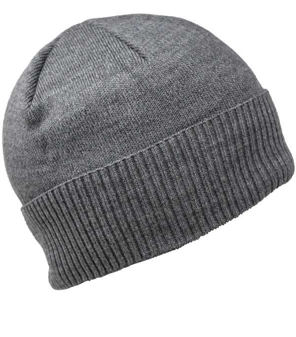 Men Knit Hat - Grey Full Fleeced Beanie