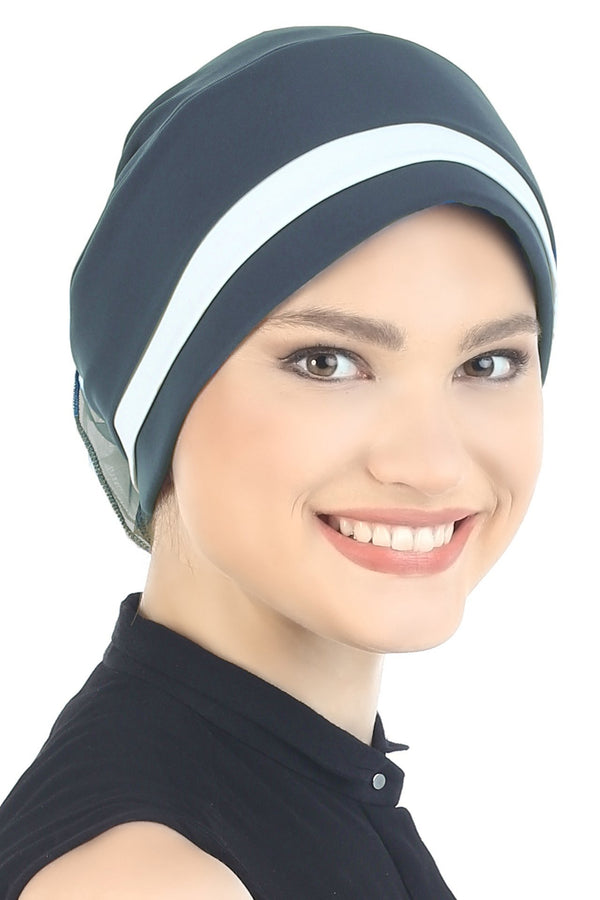 Deresina Padded hat for cancer patients greyish blue cream