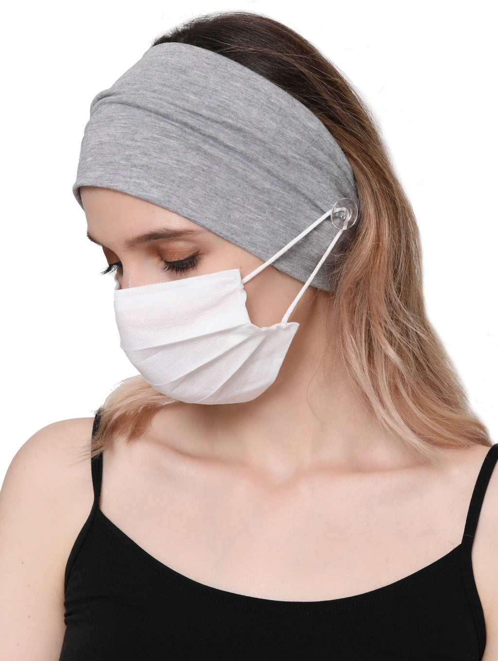 Clear Button Plain Headband for Mask - Grey Melange