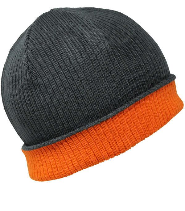 Men Knit Hat - Grey Orange Reversible Beanie