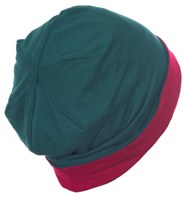 Reversible Beanie for Men - Hunter Green/Burgundy