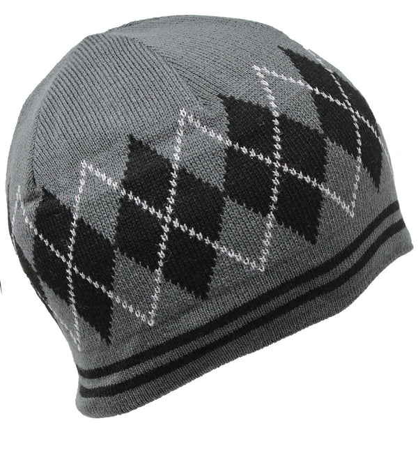 Men Knit Hat - Grey Jacquard Patterned Half Fleeced Beanie