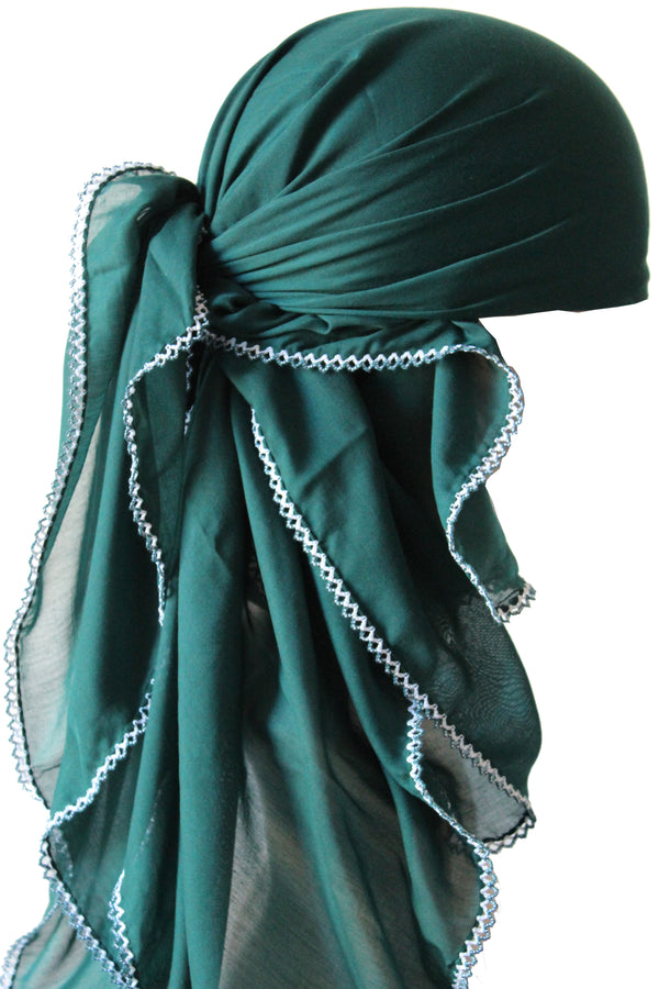 Crochet Edges Soft Head Scarf - Jade Green