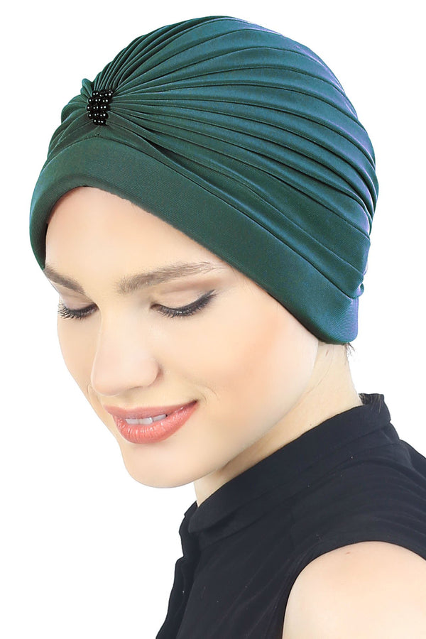 Deresina Pearl detail turban for cancer patients jade green
