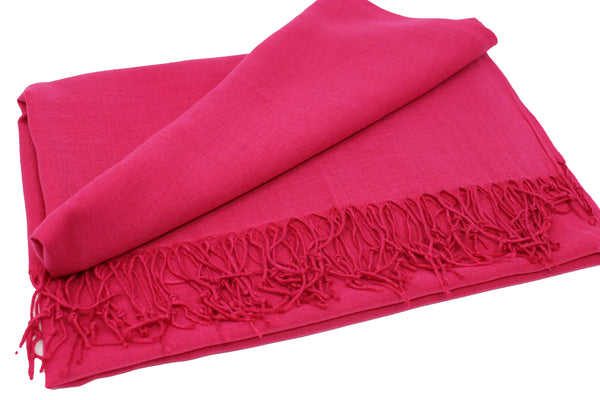 Solid Fringed Long Scarf -Fuschia