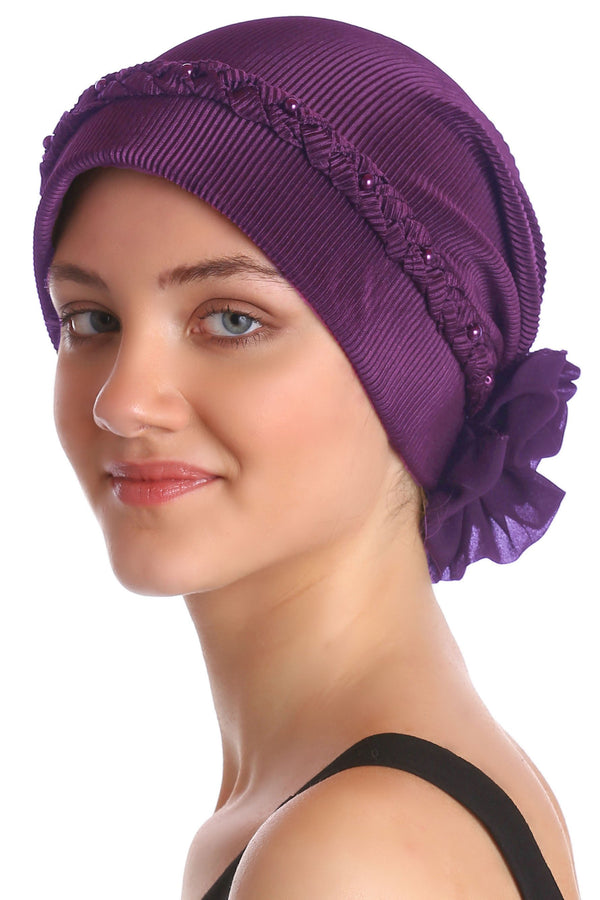 Deresina Braided beaded hat for hairloss for hairloss chocolate